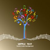 Abstract colorful music tree - Vector illustration