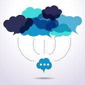stock photo of connected  - Cloud speech bubbles are connecting - JPG