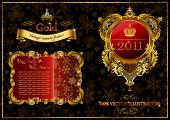 Christmas golden ornate frames 2011. Vector illustration label