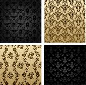 vintage vector seamless background brown black baroque Pattern