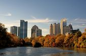 Skyline of midtown Atlanta, Georgia at Lake Meer from Piedmont Park.