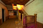 picture of bannister  - old stairs in an abandoned home - JPG