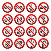 Set icons Prohibited symbols