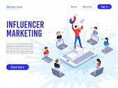 Influencer Marketing. Influence On B2c Clients, Potential Product Buyers Or Consumer Products Buyer poster