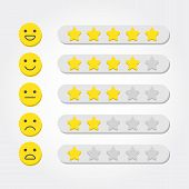 Feedback Concept. Five Stars Rating And Emoji Scale For Web And Mobile App. Feedback Consumer Or Cus poster