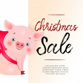 Christmas Sale Light Beige Banner Design With Cute Piglet And Sample Text. Calligraphy With Piglet I poster