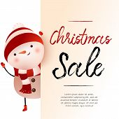 Christmas Sale Light Beige Banner Design With Snowman And Sample Text. Calligraphy With Snowman In H poster