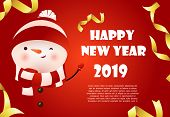 Happy New Year Red Banner Design With Cute Snowman And Sample Text. Calligraphy With Cartoon Snowman poster