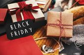 Black Friday Big Sale Text Sign. Special Discount Christmas Offer. Advertising Message At Gift Boxes poster