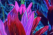 Tropical Plant With Pink Blossom On Blue. Exotic Nature Neon Colored Digital Illustration. Tropical  poster