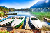 Fantastic Autumn Morning At Hintersee Lake. Few Boats On The Lake With Turquoise Water Of Hintersee  poster
