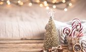 Christmas Festive Decor Still Life On Wooden Background poster