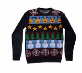 Warm Christmas Sweater On White Background. Seasonal Clothing poster