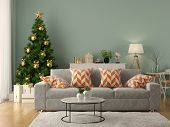 Interior of modern living room with christmas tree 3D rendering poster