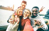 Happy Multiracial Friends Group Taking Selfie In London At European Trip - Young People Addicted By  poster