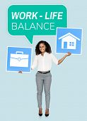 Woman showing work life balance concept poster