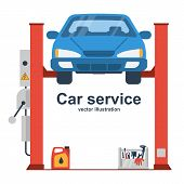 Car Liffting. Vehicle Repair Icon. Sign Of Service Maintenance Transport. Vector Illustration Flat D poster