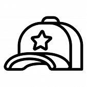 Star Baseball Cap Icon. Outline Star Baseball Cap Vector Icon For Web Design Isolated On White Backg poster