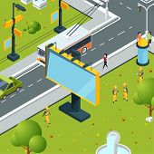 Urban Billboards Isometric. Town With Blank Places For Advertizing On Boards Led Panels Light Boxes  poster