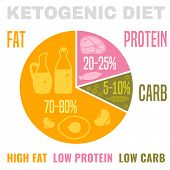 Low Carbohydrate High Fat Ketogenic Diet Poster. Colourful Vector Illustration Isolated On A Light B poster