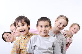 image of school child  - happy children together outdoor - JPG