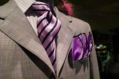 Light Grey Checkered Jacket With Purple Striped Tie And Purple Handkerchief