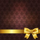 Dark Red Damask Background Wit Gold Bow, Vector Illustration