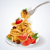 Italian food. Pasta with tomato and meat sauce on a plate and fork