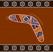 stock photo of aborigines  - A illustration based on aboriginal style of dot painting depicting boomerang - JPG