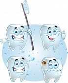 Smiling vector teeth - health with tooth brush and crying with caries