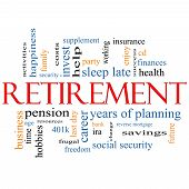 picture of last day work  - Retirement Word Cloud Concept with great terms such as security pension savings future enjoy and more - JPG