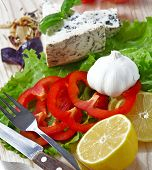Comida italiana (queijo, alho, pimenta, manjericão, salada) sobre branco