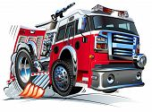 foto of big-rig  - Vector Cartoon Fire Truck Hotrod - JPG