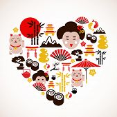 Heart shape with Japan icons