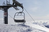 stock photo of ropeway  - Ropeway on ski resort - JPG