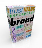 The word Brand on a box or package with several related terms such as quality, loyalty, trust, and identity to signify unique differentiators for a product or service in its market