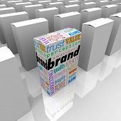 Many boxes on a store shelf, one with the word Brand to differentiate it as being the best choice, m