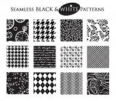 Black and White Seamless Patterns - Set of 12 seamless black and white patterns, including classic c
