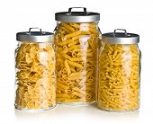 the various raw pasta in a glass jar
