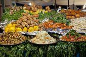 Food at the Jamaa el Fna market Marrakesh, Morocco, April 1,2012