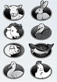 Farm animals collection icons