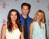 LOS ANGELES - JUN 4:  Melissa Claire Egan, Sharon Case, Michael Muhney arrives at SAG-AFTRA Panel  W