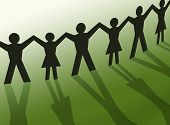 stock photo of person silhouette  - Teamwork people silhouette illustration friendship community business - JPG