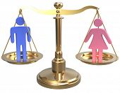 stock photo of gender  - Equality scales weigh gender justice and sex issues - JPG