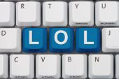 image of lol  - Computer keyboard keys with LOL New Internet Chat Acronym LO - JPG