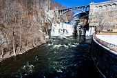 picture of crotons  - Dam on Croton River USA in winter day - JPG