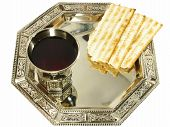 stock photo of matzah  - Kiddush wine and matza on silver tray isolated over white - JPG