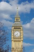 Big Ben against a cloudy blue sky, London