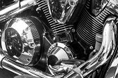 picture of exhaust pipes  - Closeup of chromed motorcycle engine - JPG