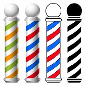 stock photo of light-pole  - illustration of barber shop pole set vector - JPG